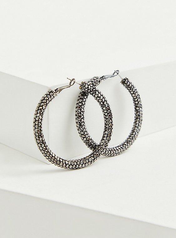 Black Sparkle Hoop Earrings, , hi-res