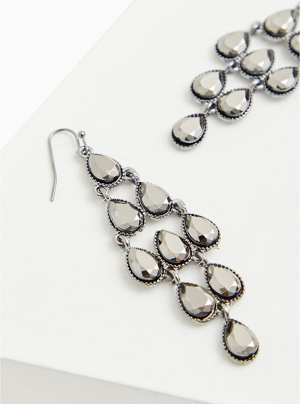 Plus Size Silver Tone Waterfall Statement Earrings, , hi-res