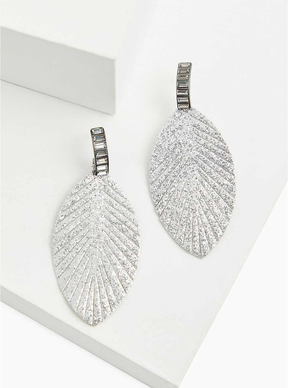Silver-Tone Baguette & Shimmer Feather Oversized Earrings, , hi-res