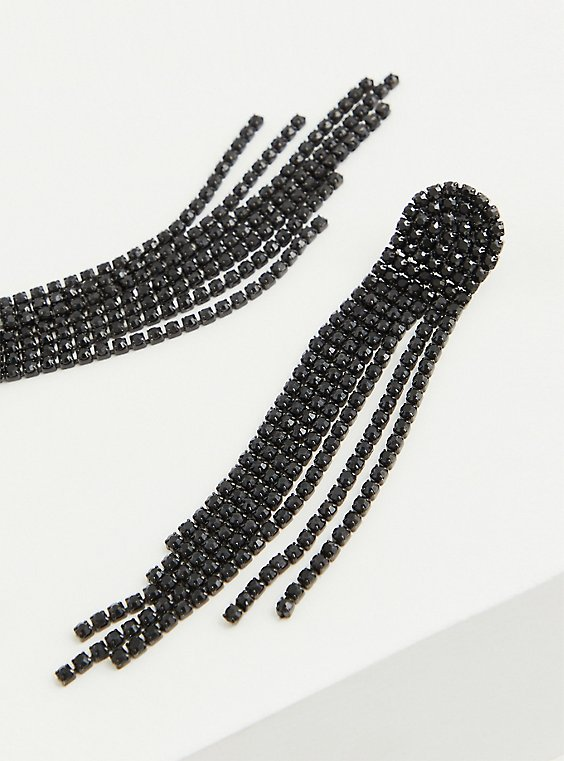 Black Embellished Fringe Dangle Earrings, , hi-res
