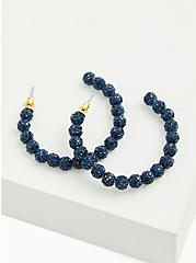 Blue Embellished Beaded Hoop Earrings, , hi-res