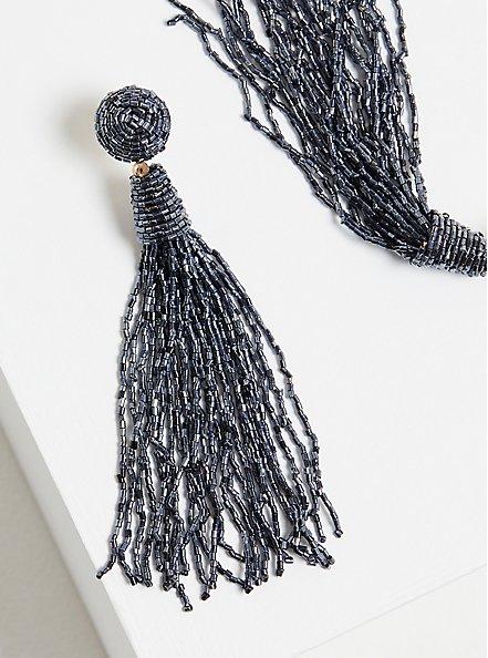 Blue Tassel Dangle Earrings, , alternate