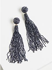 Blue Tassel Dangle Earrings, , alternate