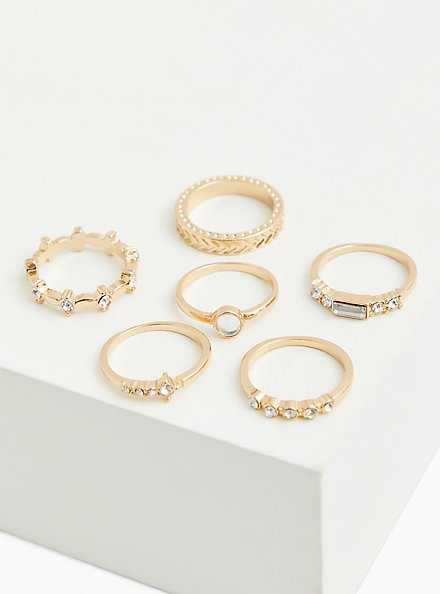 Gold-Tone Baguette & Circle Rhinestone Ring Set - Set of 6, GOLD, alternate