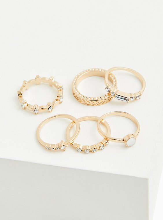 Gold-Tone Baguette & Circle Rhinestone Ring Set - Set of 6, GOLD, hi-res