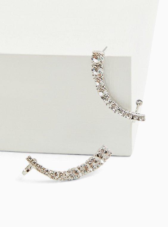 Silver-Tone Rhinestone Crawler Statement Earrings, , hi-res