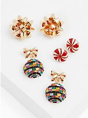 Gold-Tone & Green Ornament Earrings Set - Set of 3, , alternate