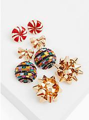 Gold-Tone & Green Ornament Earrings Set - Set of 3, , hi-res