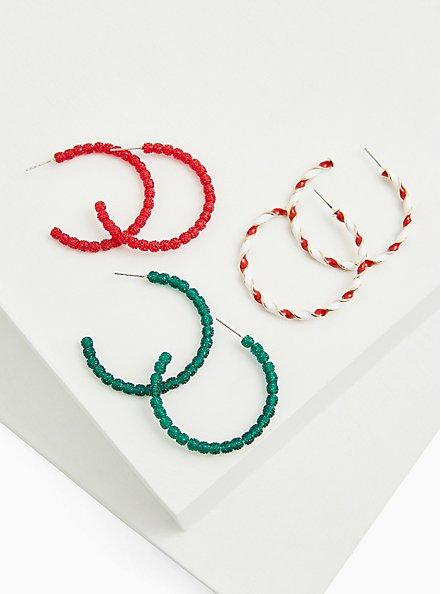 Candy Cane Hoop Earrings Set - Set of 3, , alternate
