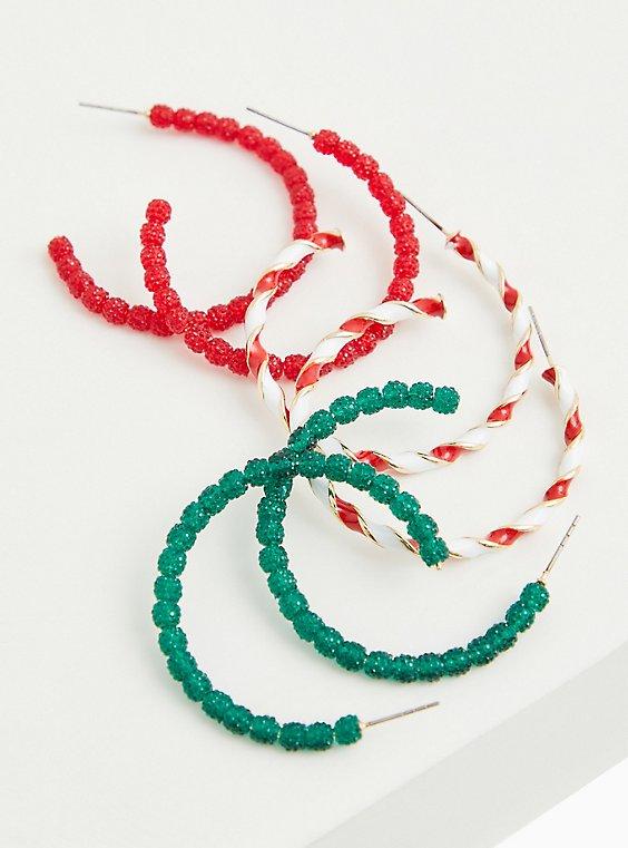 Candy Cane Hoop Earrings Set - Set of 3, , hi-res