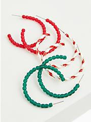 Candy Cane Red & Green Hoop Earrings Set - Set of 3, , hi-res