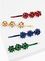 Holiday Bow Multicolor Hair Clip Set - Set Of 4, , hi-res