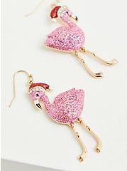 Flamingo With Santa Hat Earrings, , alternate