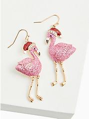 Flamingo With Santa Hat Earrings, , hi-res