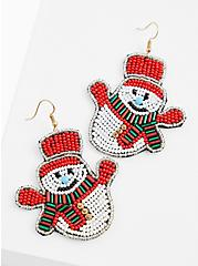 Holiday Snowman Multicolor Beaded Statement Earrings, , alternate