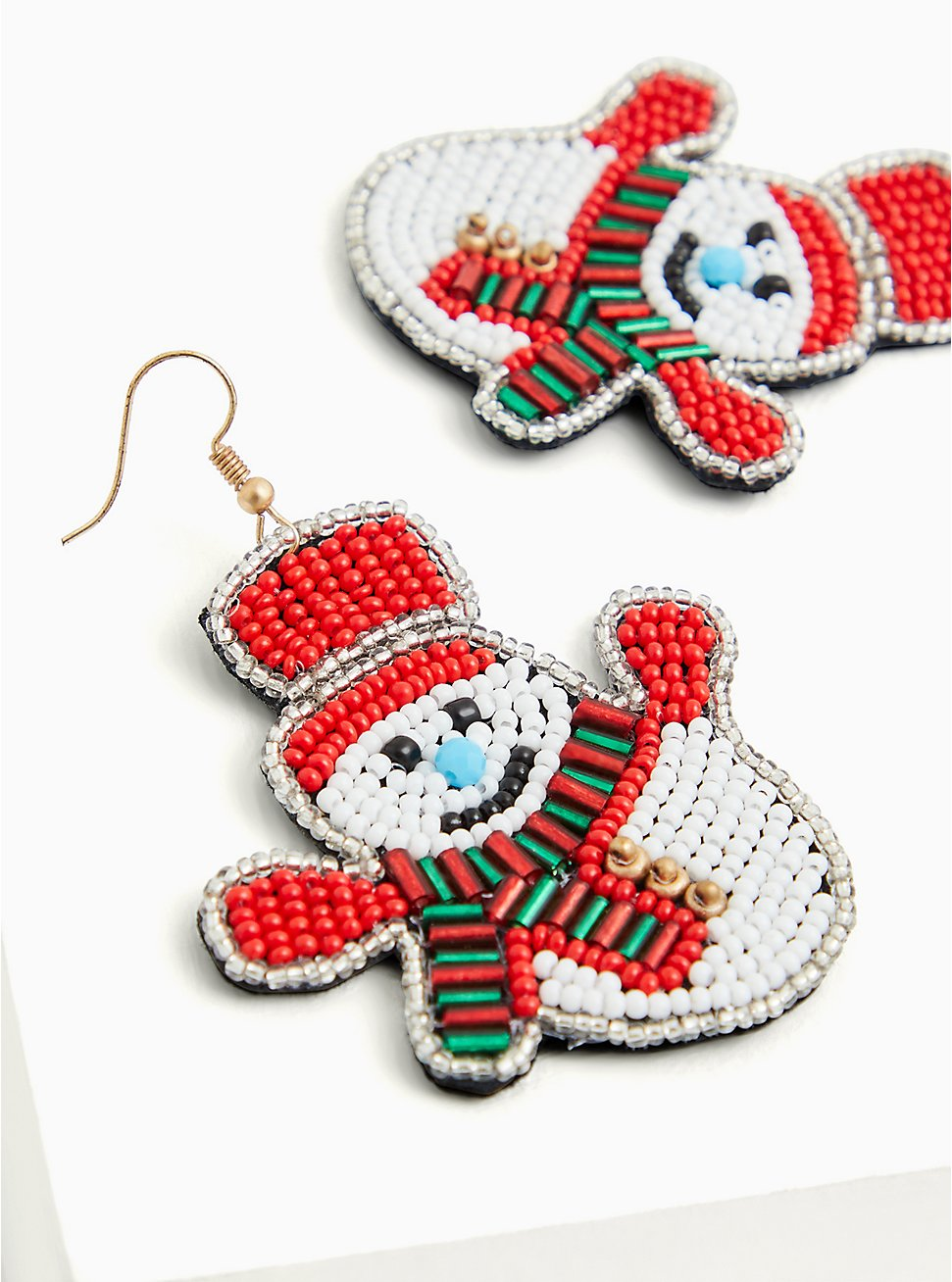 Holiday Snowman Multicolor Beaded Statement Earrings, , hi-res