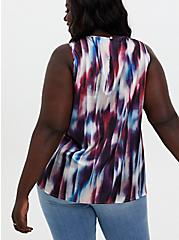 Multi Tie-Dye Stripe Shine Gauze Swing Tank, STRIPE -BLACK, alternate