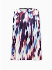 Multi Tie-Dye Stripe Shine Gauze Swing Tank, STRIPE -BLACK, hi-res