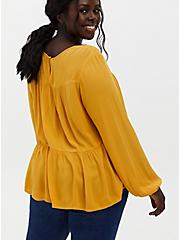 Golden Yellow Crinkled Gauze Tiered Blouse, YELLOW, alternate