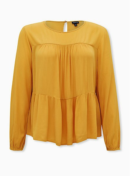 Golden Yellow Crinkled Gauze Tiered Blouse, YELLOW, hi-res