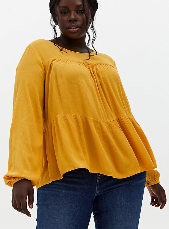 Golden Yellow Crinkled Gauze Tiered Blouse, , hi-res