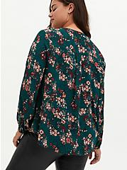 Teal Floral Georgette Pintuck Button Down Blouse, FLORAL - TEAL, alternate