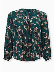 Teal Floral Georgette Pintuck Button Down Blouse, FLORAL - TEAL, hi-res