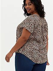 Leopard Georgette Pleated Front Top, CHEE LEOPARD, alternate