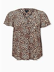 Leopard Georgette Pleated Front Top, CHEE LEOPARD, hi-res