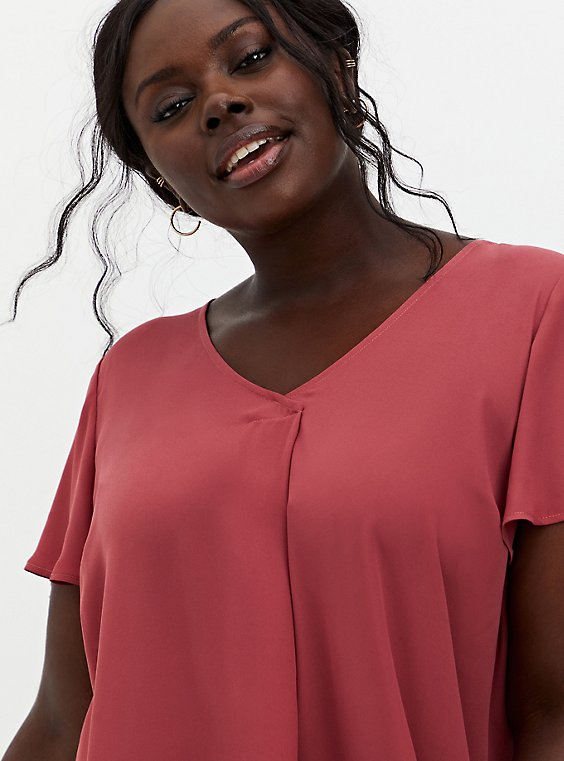 Dusty Red Georgette Pleated Front Top, RED, hi-res