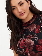 Black Floral Georgette Pintuck & Crochet Inset Blouse, FLORAL - BLACK, alternate