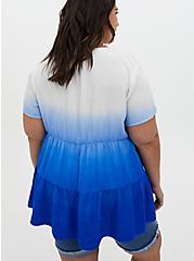 Royal Blue Dip-Dye Twill Shirred Hem Babydoll Tunic, BLUE, alternate