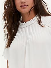 White Georgette Pintuck & Crochet Inset Blouse, CLOUD DANCER, alternate