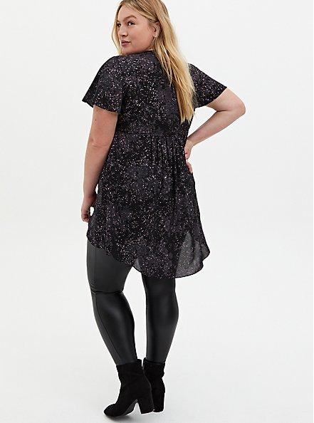 Black Floral Georgette Twist Front Babydoll Tunic, FLORAL - BLACK, alternate