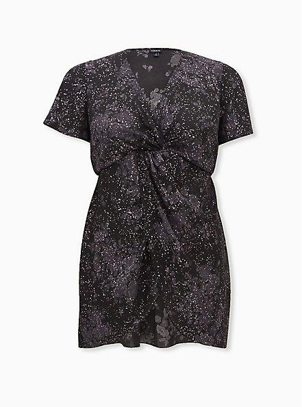 Black Floral Georgette Twist Front Babydoll Tunic, FLORAL - BLACK, hi-res