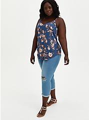 Ava - Vintage Indigo Floral Stretch Challis Cami, FLORAL - BLUE, alternate