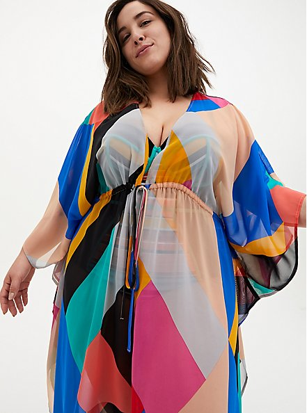 Multi Geo Chiffon Kaftan Swim Cover Up, MULTI, hi-res