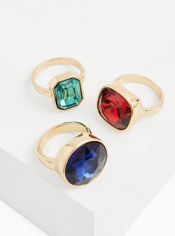 Gold-Tone Faux Stone Ring Set - Set Of 3, MULTI, hi-res