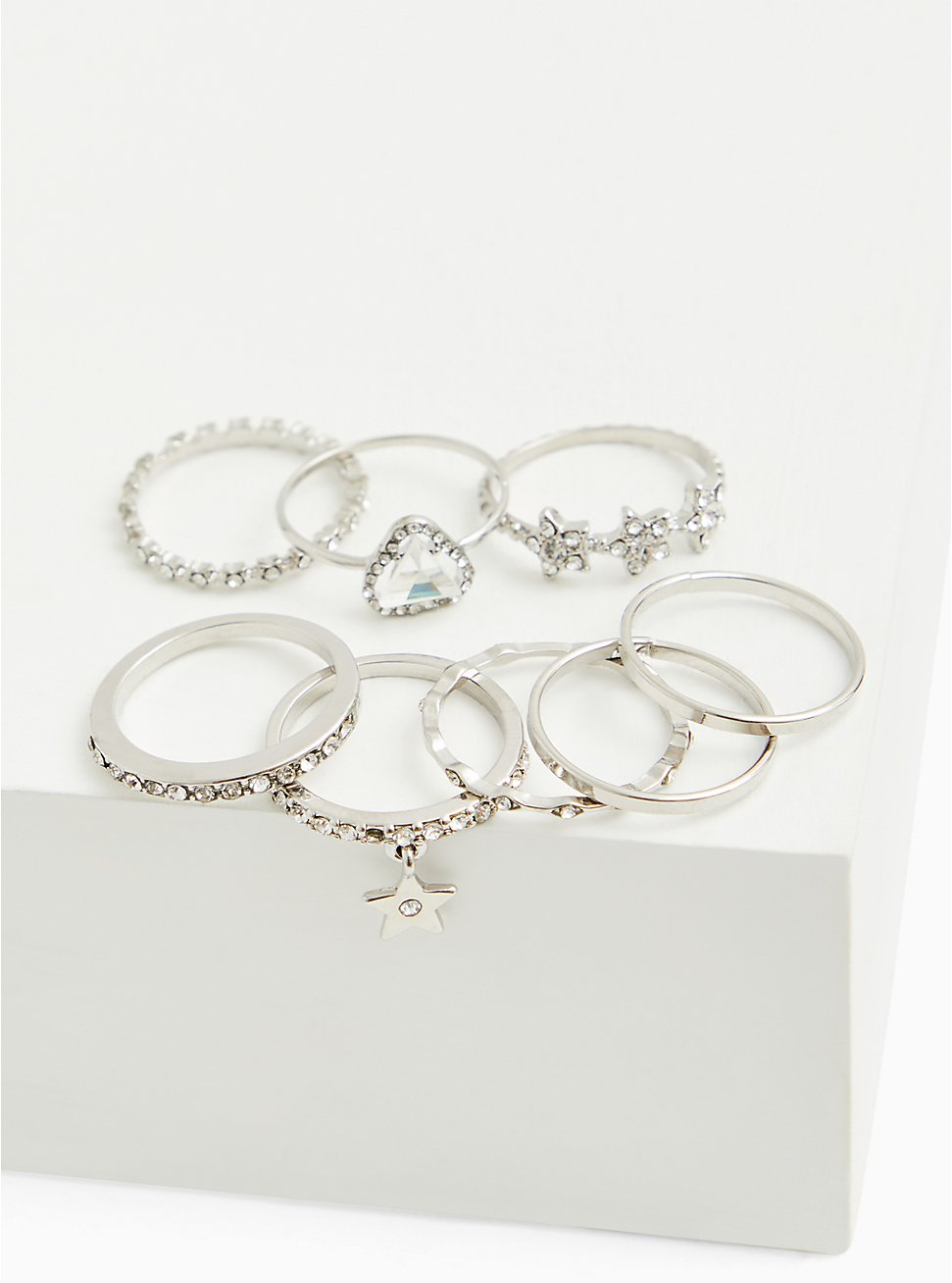 Plus Size Silver-Tone Star Ring Set - Set of 8, MULTI, hi-res