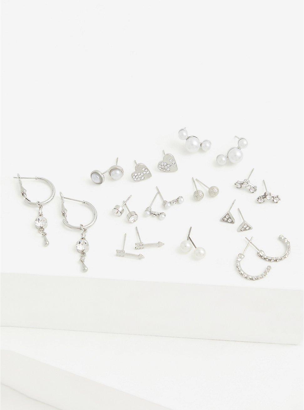 Silver-Tone Heart Stud & Huggie Hoop Earrings Set - Set of 12, , hi-res