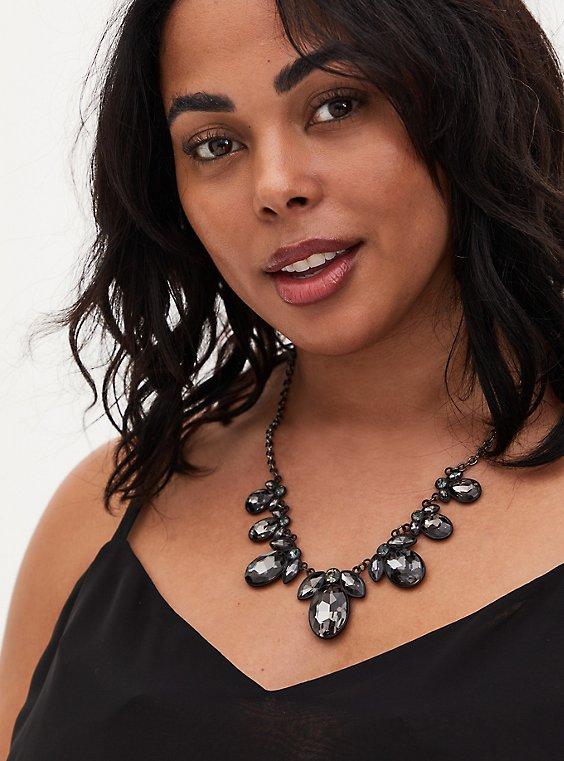 Black Faux-Gem Teardrop Statement Necklace, , hi-res