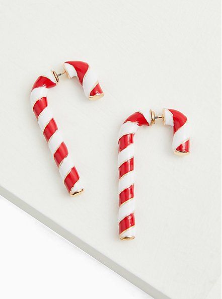 Holiday Red & White Candy Cane Earrings, , alternate
