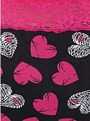 Black & Pink Rib Cage Hearts Wide Lace Cotton Cheeky Panty, , alternate