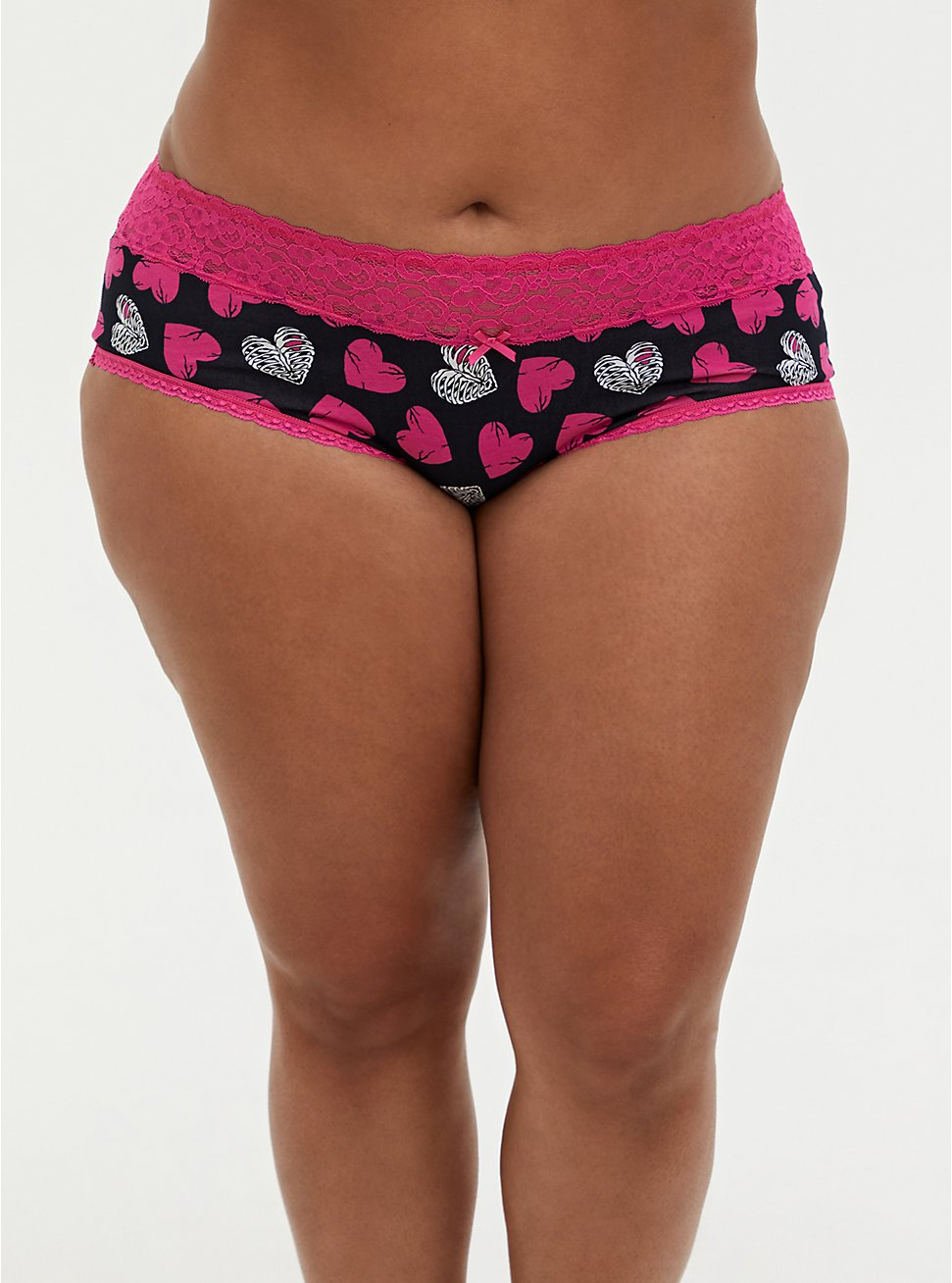 Black & Pink Rib Cage Hearts Wide Lace Cotton Cheeky Panty, , hi-res