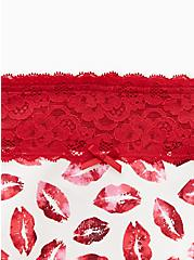 White & Red Lips Wide Lace Cotton Thong Panty , KISSES, alternate