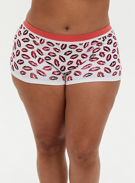 Red & White Kisses Seamless Boyshort Panty, , hi-res