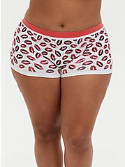 Red & White Kisses Seamless Boyshort Panty, KISSES, hi-res