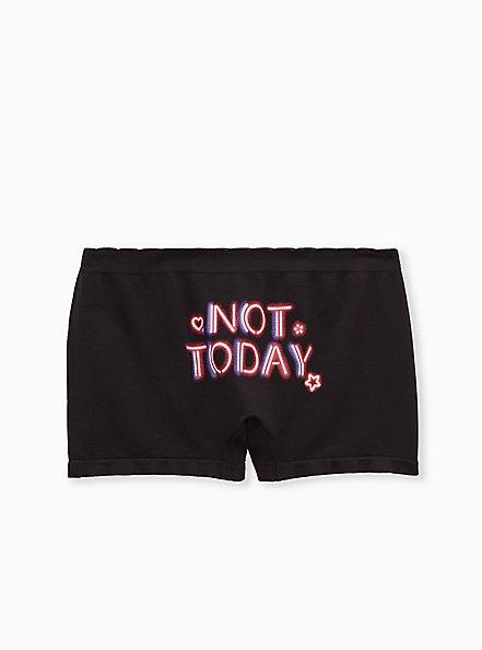Not Today Black Seamless Boyshort Panty, , alternate
