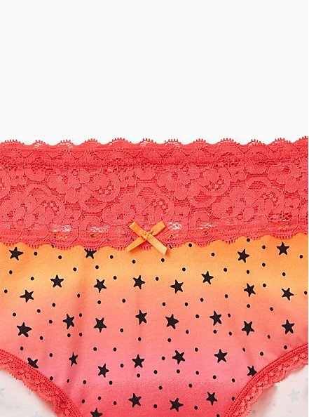 Orange Stars Wide Lace Cotton Cheeky Panty, , alternate