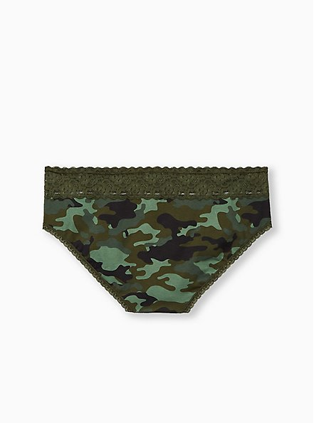Camo Wide Lace Cotton Hipster Panty, , alternate